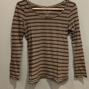 Anthropologie Gray and White Striped Long Sleeve